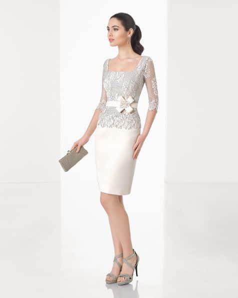 Falda formal con blusa de tul para coctel
