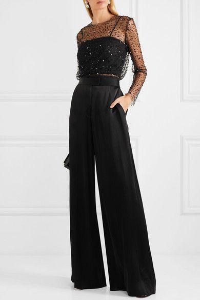 Pantalon negro ancho para coctel
