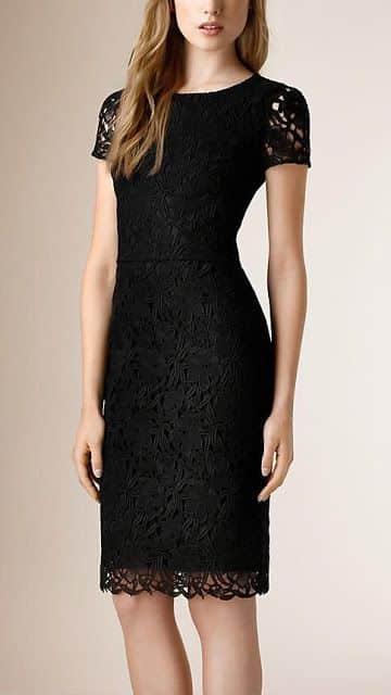Vestido negro de encaje formal para coctel
