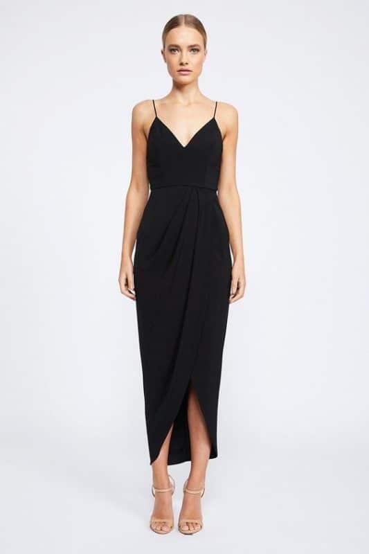Vestido negro largo semi formal