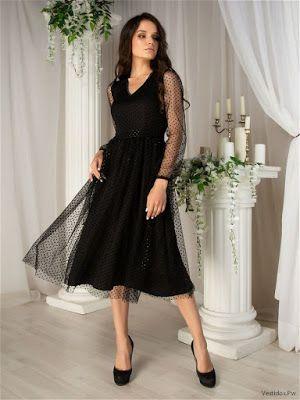 Vestido negro para coctel de invierno