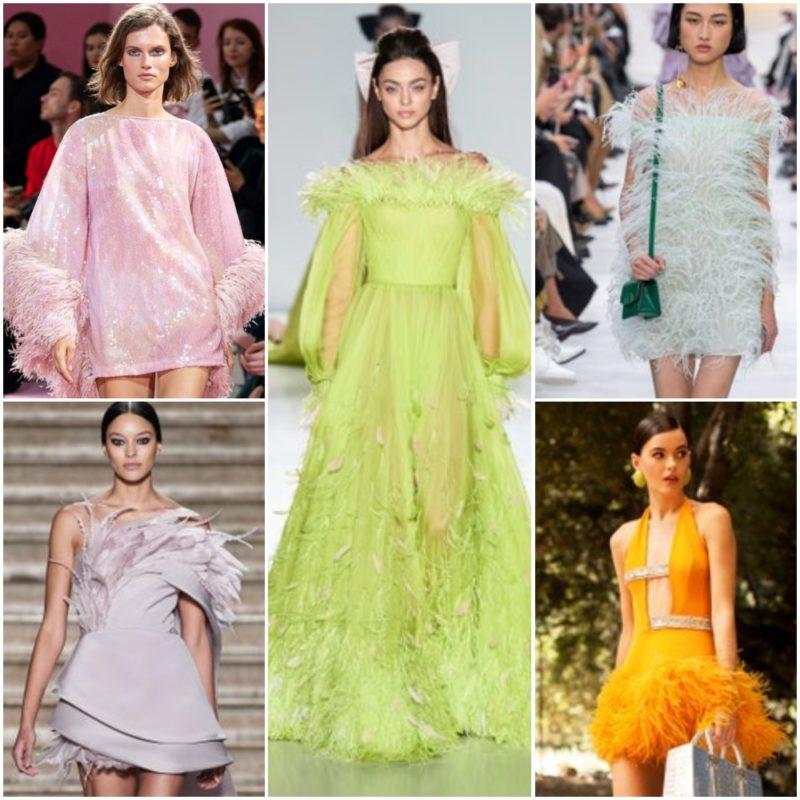 Vestidos con plumas Ropa Moda noche fiesta 2021