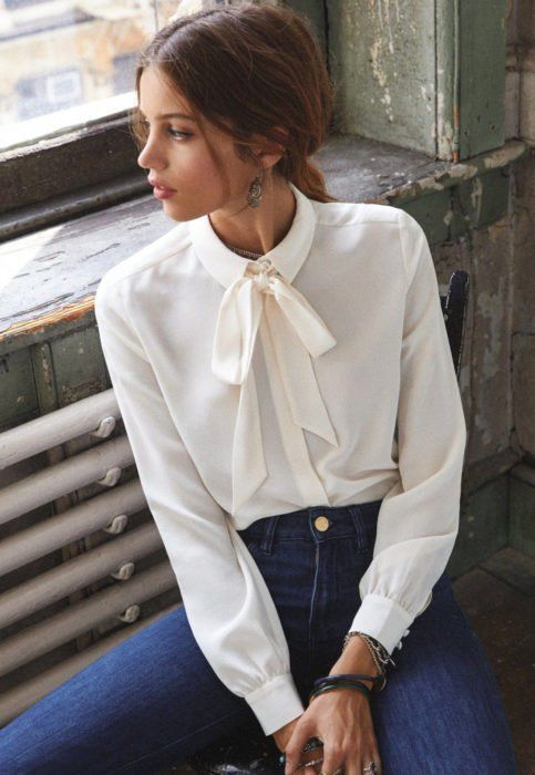 camisa blanca mujer elegante casual