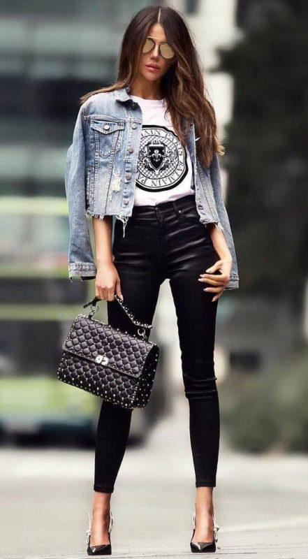 campera jeans look noche casual