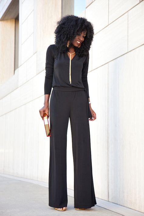 conjunto en negro para cena formal de negocios