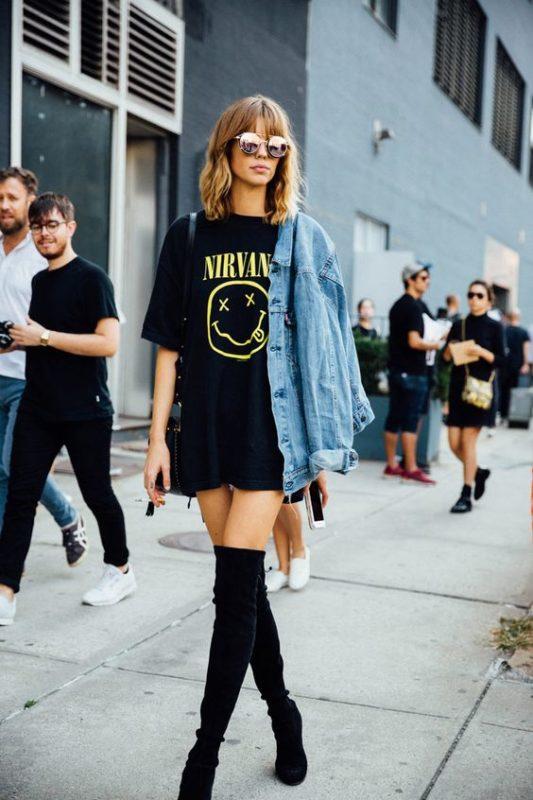 look con remera larga estilo vestido rock