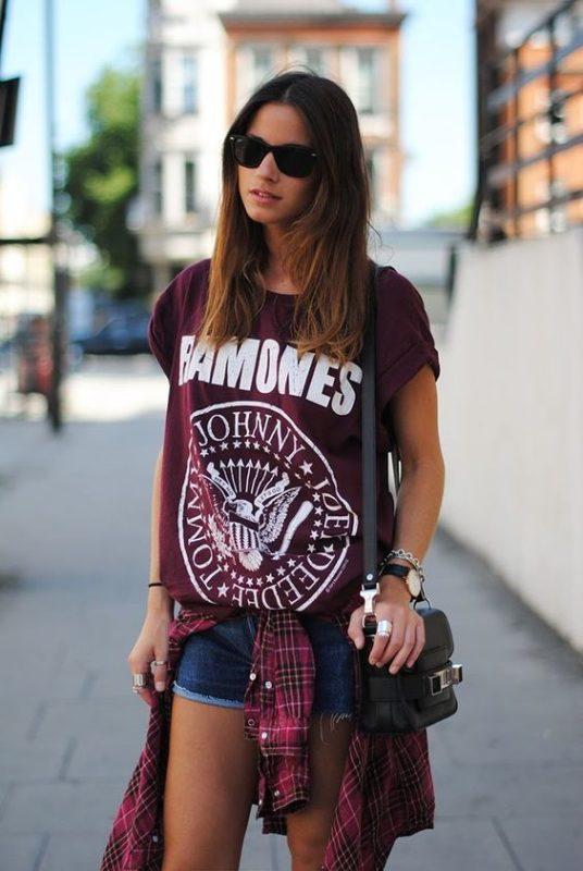 look con short y camisa para un concierto de rock