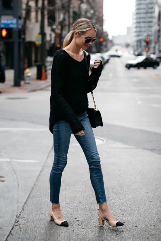 look informal en jeans ajustados para ir a cenar