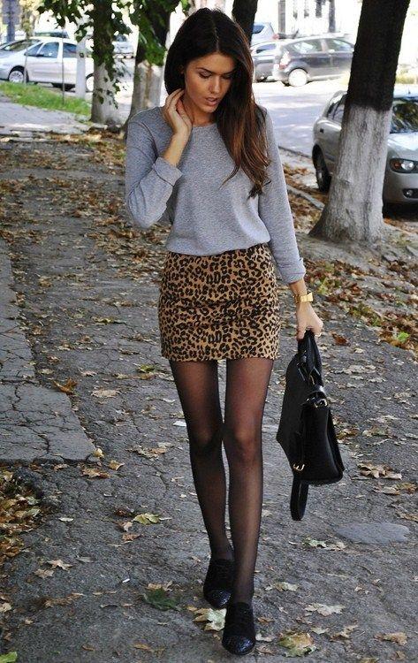minifalda animal print look noche casual