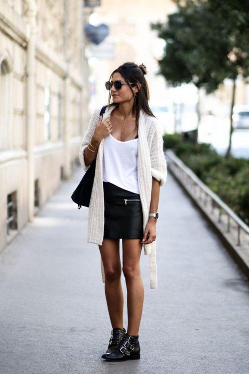 minifalda engomada look noche casual