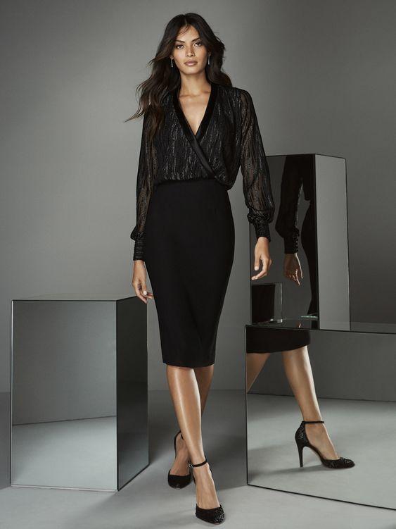 outfit con falda tubo negra para coctel