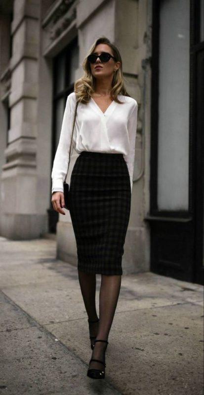 outfits en falda para cena empresarial