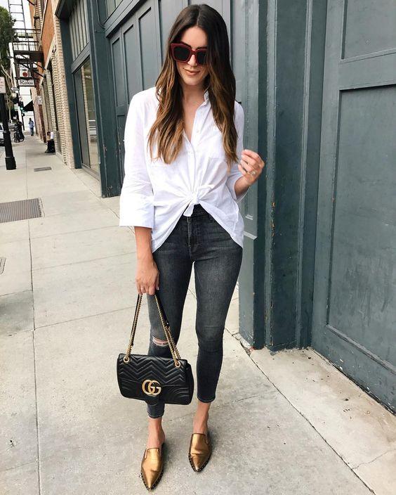 ropa informal para ir a cenar en jeans negro