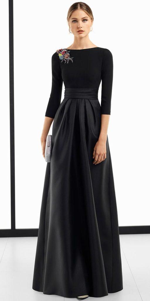 vesido negro mangas largas formal