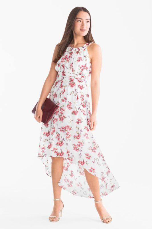 vestido asimetrico blanco con flores