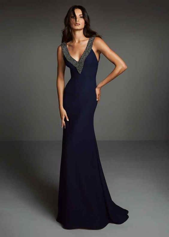 vestido azul oscuro etiqueta mujer