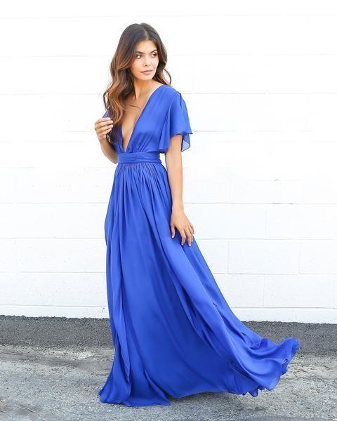 vestido azul semi formal largo
