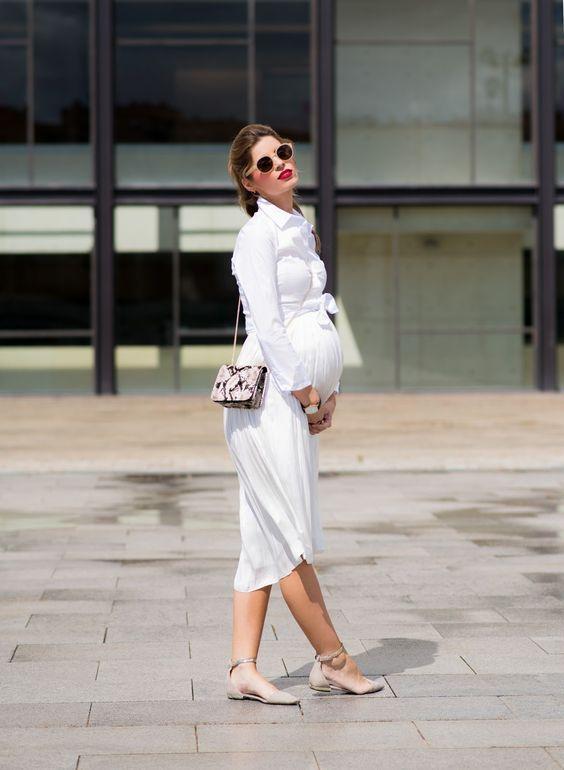 vestido blanco camisero embarazadas