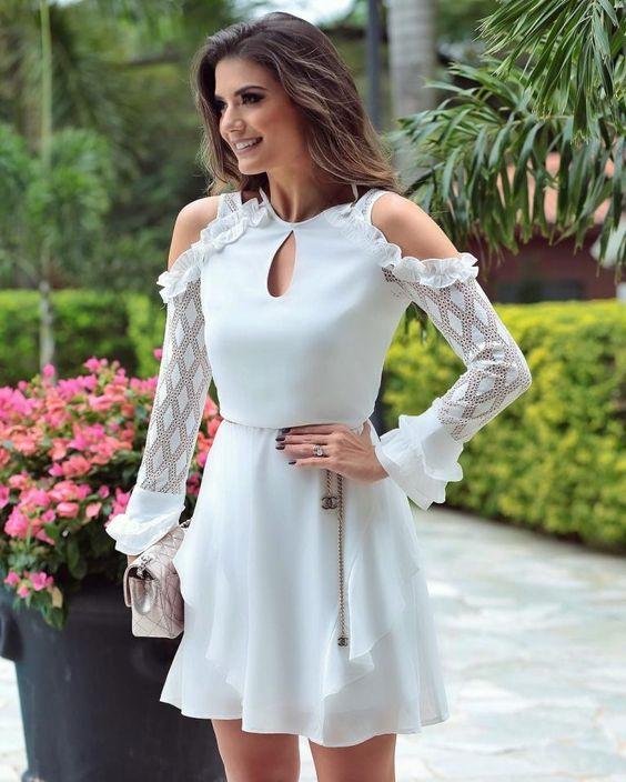 vestido blanco corto semi formal
