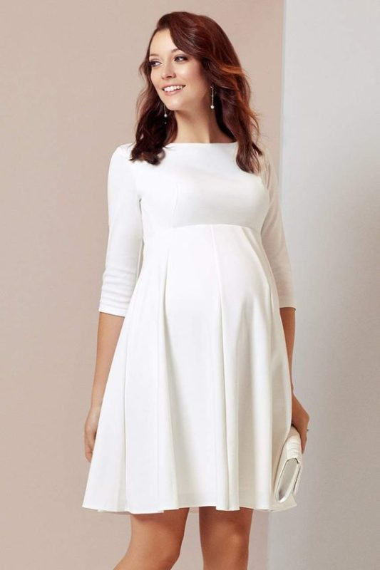 vestido blanco formal para embarazadas
