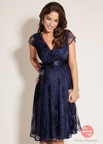 vestido corto azul de fiesta para embarazadas