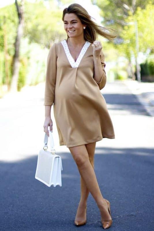 vestido corto con mangas formal para embarazadas