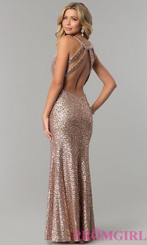 vestido de gala metalizado