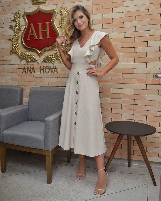 vestido de lino casual elegante 1