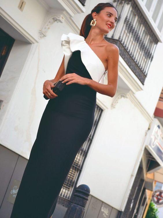 vestido formal blanco y negro