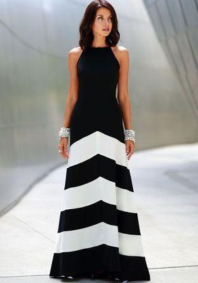 vestido largo formal blanco y negro