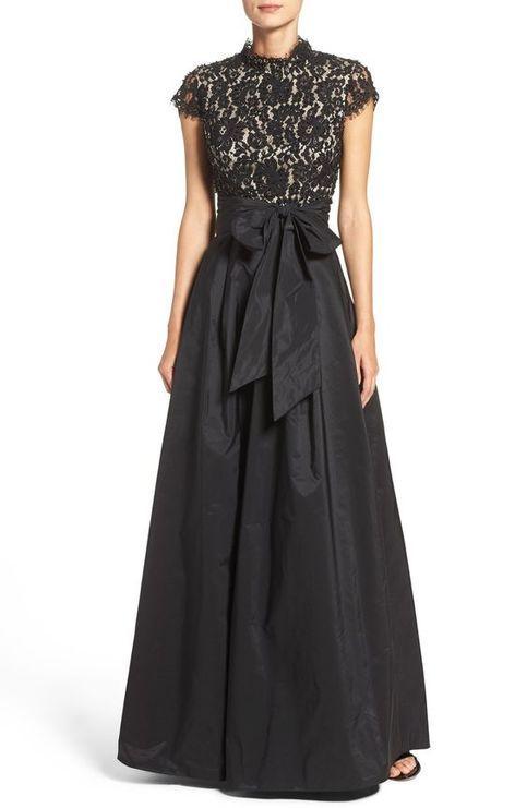 vestido largo negro formal falda plisada