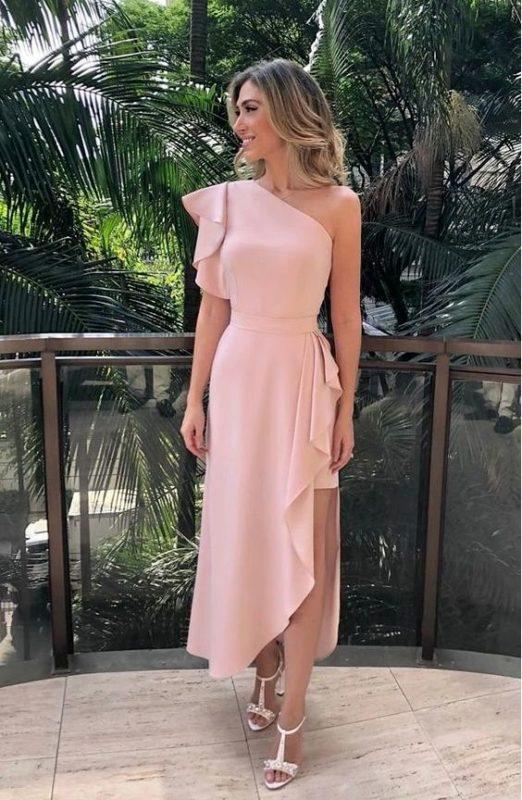vestido largo rosa semi formal