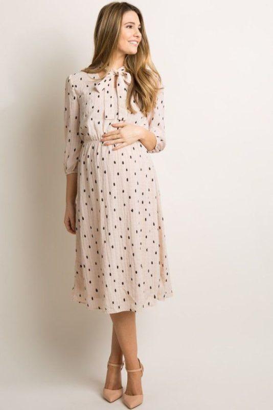 vestido midi para embarazada a lunares
