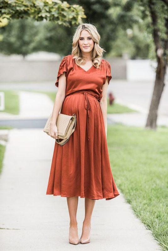 vestido midi seda embarazada