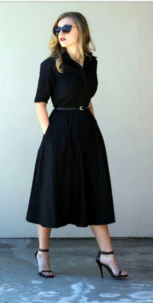vestido negro casual elegante