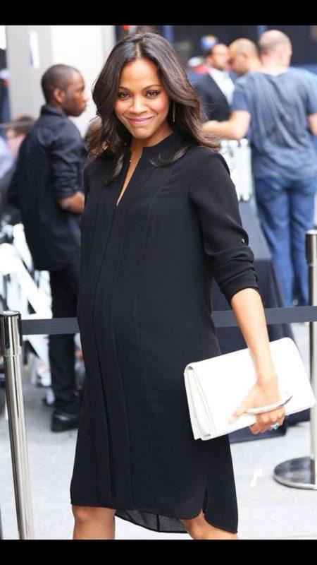 vestido negro de gasa para embarazadas