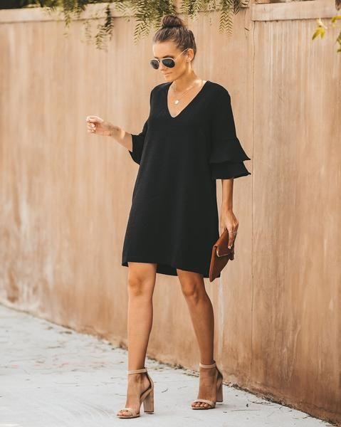 vestido negro recto