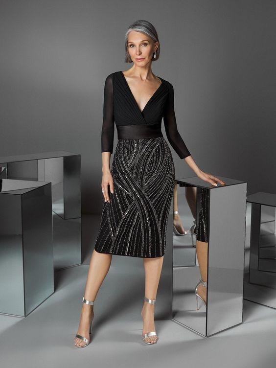 vestido para coctel de etiqueta negra mujer
