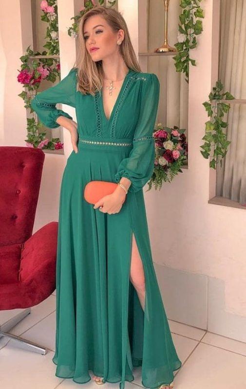 vestido verde largo semi formal