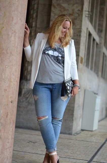 blazer blanco y jeans para gorditas