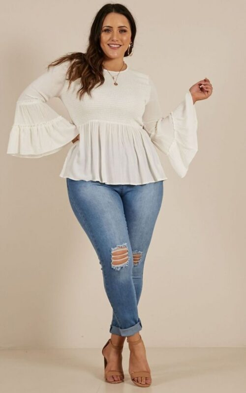 blusa blanca para gorditas jeans roto