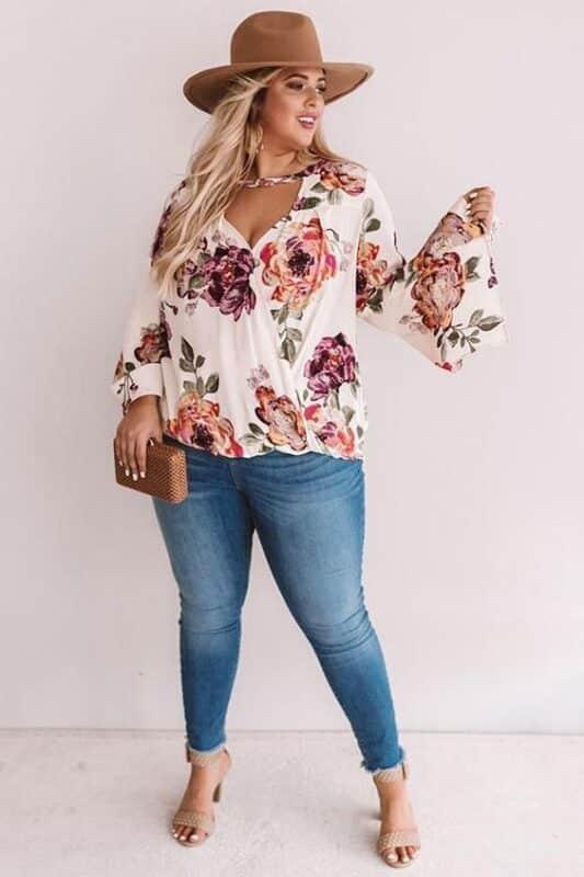 blusa mangas largas floreada para gorditas