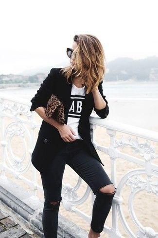 jeans negro y blazer look noche