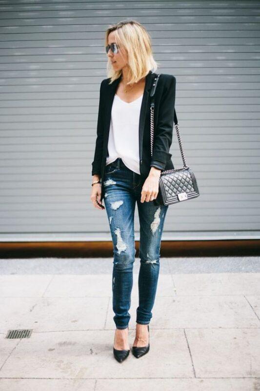 jeans roto para señoras noche