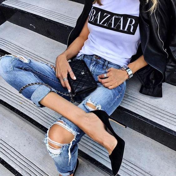 look noche con estiletos y jeans