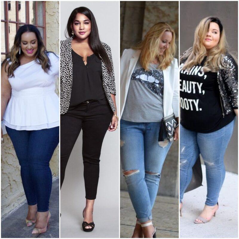 look noche con jeans en talles grandes