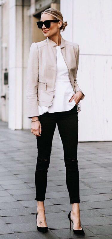 look noche elegante con jean negro rotos