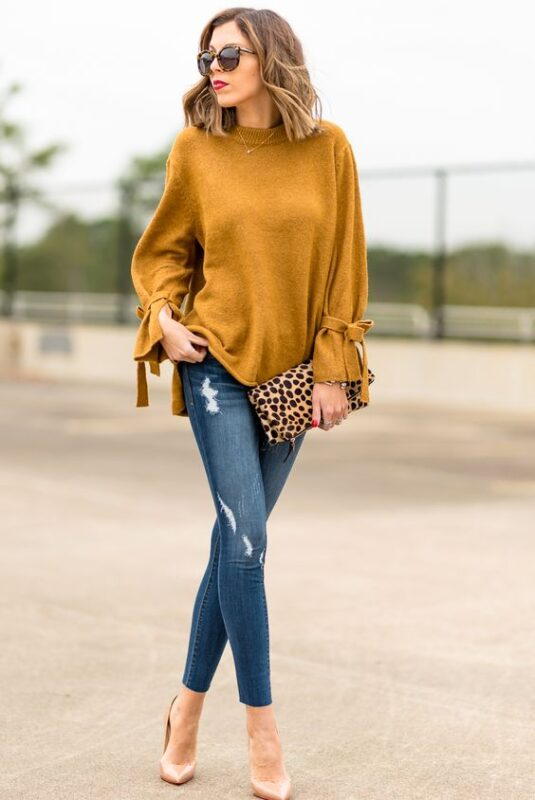 look noche jeans y blusa mangas largas