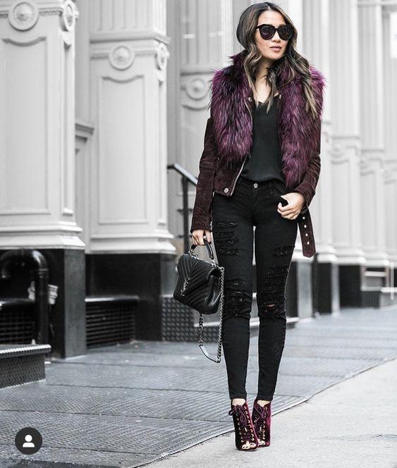 look noche mujer con jeans negro