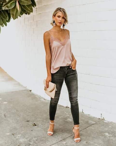 top y jeans para la noche